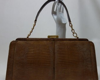 60s PALIZZIO  Brown Tegu Lizard  Handbag Purse 16 inches long