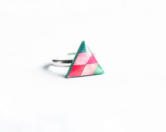 Violet and green adjustable ring, triangle jewelry