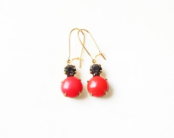 Vintage Red and Black Glass Cabochon Earrings, Set Stone Earrings, Colored Stone Earrings, Rhinestone Earrings, Bezel Earrings