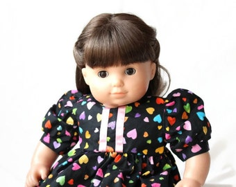 Doll Dress Rainbow Hearts Black Pink Yellow Blue Green Orange Summer Spring Bitty Twin Baby 15 inch Clothes --US Shipping Included