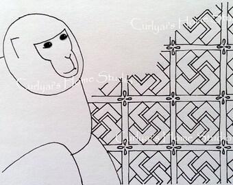 Original Art Greeting Card / Monkey / Chinese Zodiac Sign / Blank inside / with Envelope