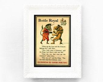 Guinness Print Original Advertisement Book Plate 7.5 x 10.5 inches Ireland Brewerania Advert Pint Alice in Wonderland Illustration