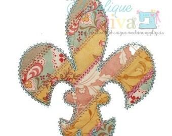 Spring Shabby Patchwork Flur De Lis Digital Embroidery Design Machine Applique