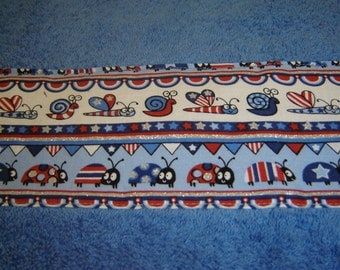 Children's towel, cornflower blue hand towel w/red/white/blue/silver bugs, snails, stars, sparkly, cotton terry, whimsical, patriotic decor