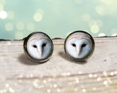 Owl Earrings: Barn Owl. White Owl. Gift for Her. Jewelry. Handmade. Earrings. Post Earrings. Gunmetal Jewelry. Lizabettas