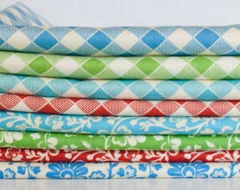 Gypsy Girl Floral and Gingham Checkered Moda Fabric Bundle -  Fat Quarter Bundle - 8 fat quarter pieces (B267)