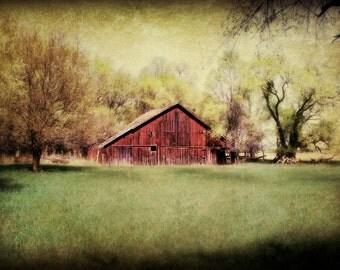 Rustic Barn Art / Barn Art / Green / Red Barn / Rustic Decor / Farmhouse Decor