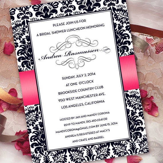 wedding invitations, bridal shower invitations, hot pink and black damask wedding invitations, fuchsia graduation invitations, IN285