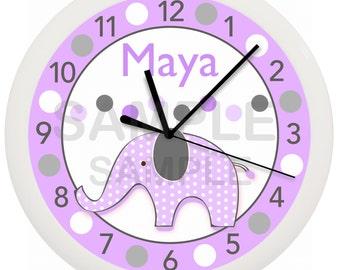 Mod Lavendar Elephant Personalized Nursery Wall Clock