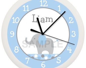 Elephant Personalized Nursery Wall Clock