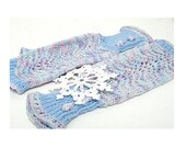 Fingerless Gloves blue pastel pink white hand knit in a cotton bamboo yarn all season wear