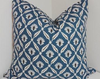Blue Floral Print Pillow Covers Decorative Throw Pillow Covers Navy Blue Floral Choose Size
