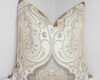 Kravet Latika Limestone Linen Ikat Pillow Cover Grey Tan Paisley Pillow Cover 20x20