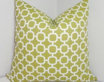OUTDOOR Pillow Cover Green/White Geometric Design Pillow Cover Patio Deck Pillow 18x18