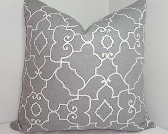 Covington Grey & White Geometric Trellis Pillow Cover Decorative Pillow Cover All Sizes