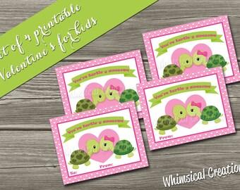 INSTANT DOWNLOAD Kids Valentines Cards, Turtle Valentine (Set of 4 - You're Turtle-y Awesome Design) DIY Printable