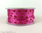 "CLEARANCE! Valentine Ribbon 3/8"" Fuchsia Pink Satin with Red Hearts - THREE YARDS - May Arts Narrow Craft Ribbon, Sewing Trim"