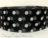 """Wired Ribbon, 2"""" wide,  Black Sheer with White Polka Dots  - THREE YARDS -  """"Sheer Dottie""""  Craft Wire Edged Ribbon"""