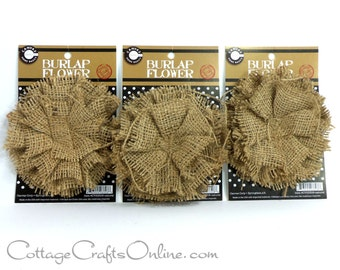 "SALE! Burlap Flower Natural, 4 1/2"" wide - PACK of THREE -  Jute Fabric Flower  Wedding or Wreath Embellishment Rustic Trim"