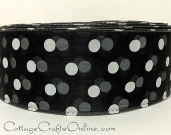"Wired Ribbon, 2"" wide,  Black  Sheer with White Polka Dots  - FOUR YARDS - Morex Ribbons ""Wired Dots""  Craft Wire Edged Ribbon"