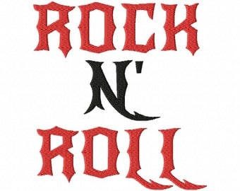 "Rock N Roll Machine Embroidery Font - Sizes 1"",2"",3"",4"" BUY 2 get 1 FREE"