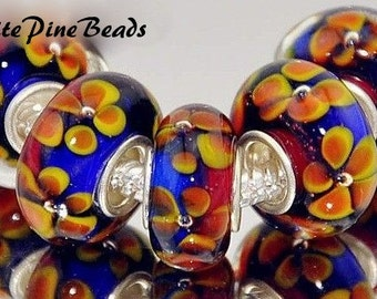 Murano Lampwork Glass Beads Blue, Rust and Gold Floral For European  Style Charm Bracelets