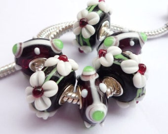 Murano Lampwork  Glass Beads Black, Spring Green and White   6 PC Set for European Style Charm Bracelets WhitePineBeads