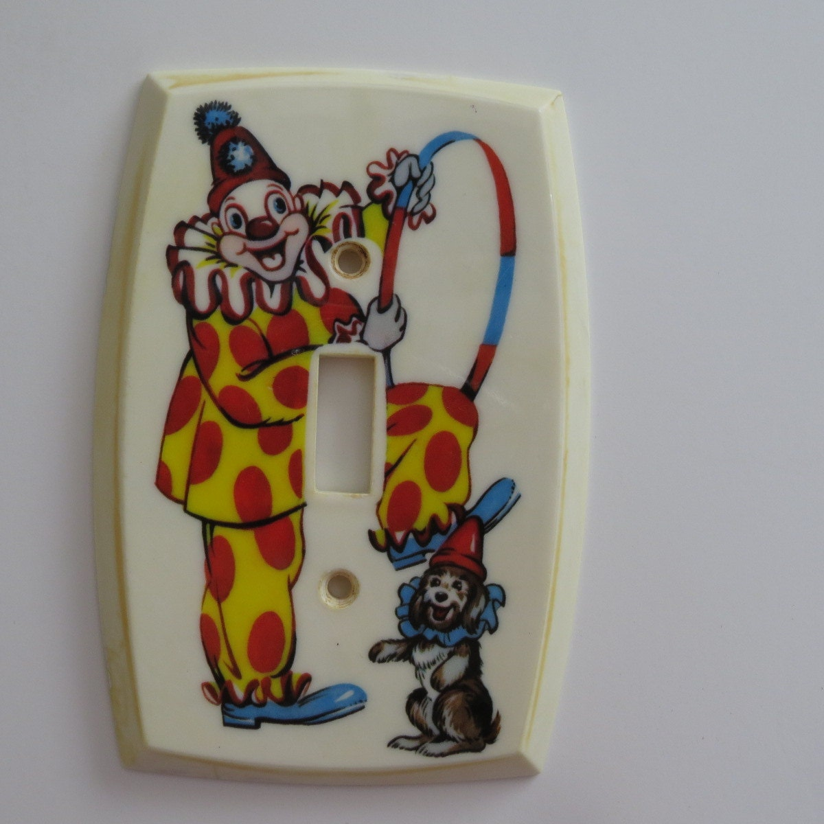 Vintage clown light switch plate cover by shabbyshopgirls Vintage childrens room decor