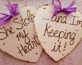 Wedding Photo Props Engagement Photo Props - SET of 2 Wood Hearts Wood Signs For Him and Her - Save the Date She Stole my Heart...