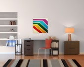 abstract canvas art // mid century photography // bright graphic boat art - Rainbow Hull art on canvas