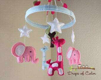 """Baby Crib Mobile - Baby Mobile - Nursery Mobile - Elephant Giraffe Mobile """"Jungle in the Circle of Love"""" (You can pick your colors)"""
