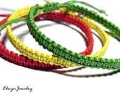 3pcs Men's Bracelets, Rasta Bracelets, Cord Bracelet, Macrame Bracelet, Friendship Bracelet, Jamaica Bracelet, Red Yellow Green Bracelet