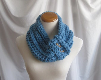 Cowl Neckwarmer Button Crochet - Sky Blue with Wood Toggle Buttons - Soft Wool Blend
