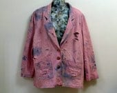 Vintage Bleached Ripped Shredded Dyed Light Pink Blazer 80s Denim Boyfriend Blazer