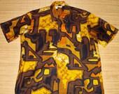 Mens Vintage 60s Liberty House Tribal Tiki Hawaiian Aloha Shirt - L - The Hana Shirt Co