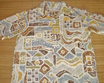 Mens Vintage 60s Sandwich Isles Mod Tapa Hawaiian Aloha Shirt - XL - The Hana Shirt Co