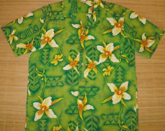 Mens Vintage 50s Kamehameha Flower Lei Hawaiian Aloha Shirt - L - The Hana Shirt Co