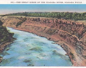 Niagara Falls,  Great Gorge, Niagara River - Linen Postcard - Unused (E)