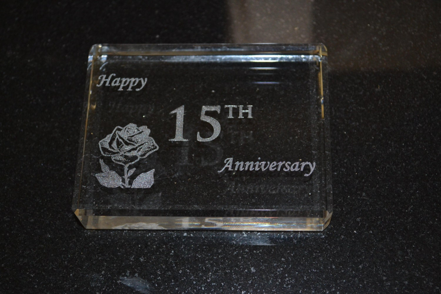 Crystal Wedding Anniversary Gifts For Her: 15 Year Anniversary Crystal Paperweight Gift With Happy 15th