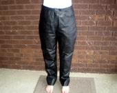 Vintage 80s Black Leather Pants Trousers High Waist High Waisted Boho Chic Grunge Goth Biker New Wave Punk Club Kid / M L