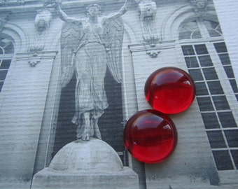 Ruby Domed Glass Cabs 18mm 2Pcs.