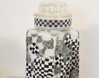 Black/white glass storage jar polymer clay enhanced