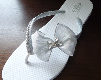ON SALE Silver Flip Flops. Bridal silver flip flops w/ CZ Crystals. Bow bridal flip flops. -Other colors available-Bow Crystals collection 0