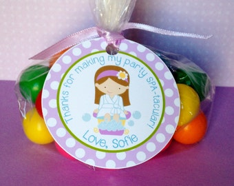 Spa Birthday Party Personalized Favor Tags, Thank You Tags, Treat Tags, Goody Bags,  Party Favors, Party Decorations, Set of 12