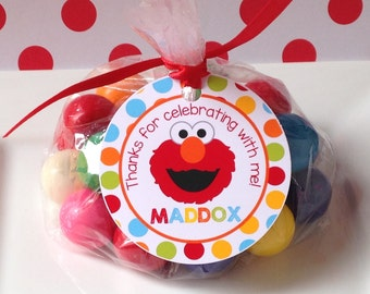12 Elmo Birthday Party Favor Tags