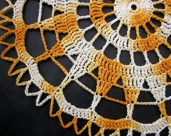 New Handmade Yellow Starburst Cotton Cloth Crochet Doily