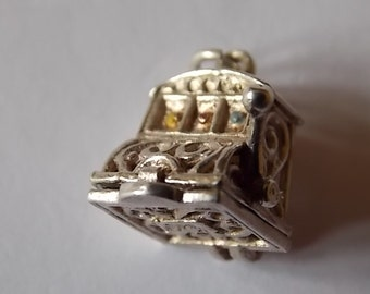 Vintage Silver Nuvo Slot Machine One Armed Bandit Charm OPENS