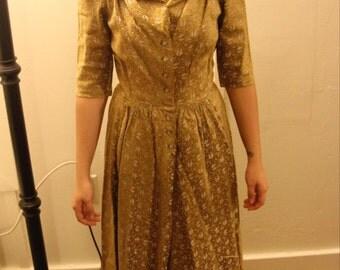 Adele Simpson Vintage 40's Gold Brocade Dress