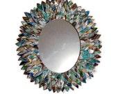 CUSTOM ORDER for Alyssa- SMALL Leather Oval Mirror