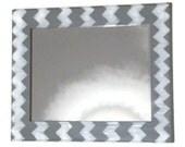 Gray chevron mirror, grey and white wall mirror, decorative mirror, hanging mirror, bathroom mirror, vanity mirror, geometric mirror